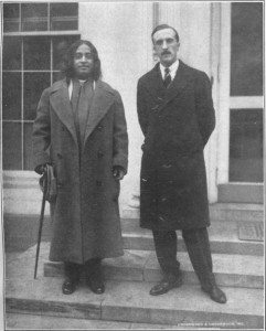 Yogananda at the White House with a tall thin man