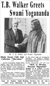 Reconstructed ad from the Minneapolis Daily Star featuring Paramhansa Yogananda shaking hands with T.B. Walker