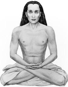 The great Mahavatar Babaji sitting in lotus posture