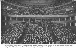 Yogananda in the front row, with an audience at the Los Angeles Philharmonic Auditorium